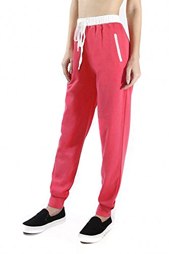 Sassy Apparel Women's Active Wear French Terry Jogger Pants with Drawstring (Medium, Hot Pink)