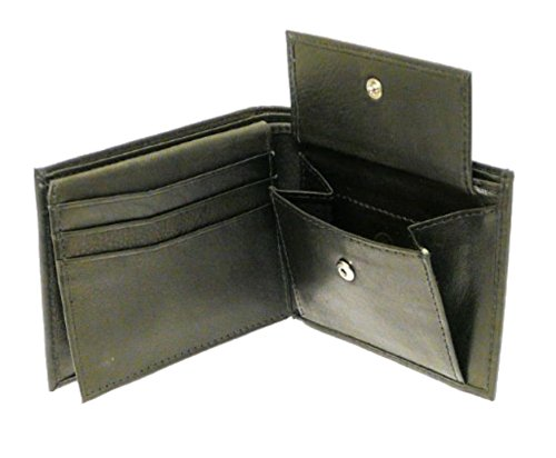 Black Leather Billfold (Black Leather Wallet 6 Credit Cards 1 ID Card Coins Notes)