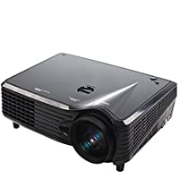 Autvivid Projector LCD LED Video 800480 Resolution 1080P USB SD Keystone Free HDMI HD for Home Cinema Theater Projector Office (Black)