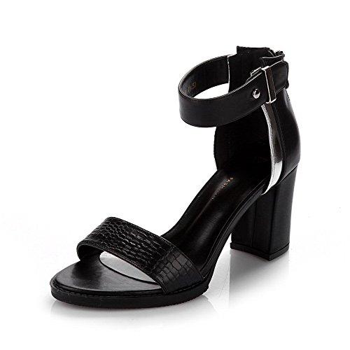 AmoonyFashion Womens Open Toe High Heels Zipper Solid Sandals Black XPyk5sX
