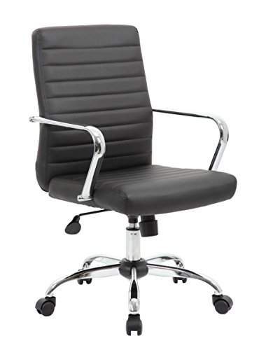 BOSS Office Products B436C-CP Retro Task Chair Fixed Arms, Black