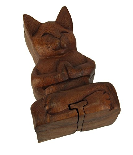 Kingmax Wood Decorative Boxes Hand Carved Wooden Yoga Cat Trinket Puzzle Box 5.25 X 2.5 X 3.75 Inches Brown by Kingmax