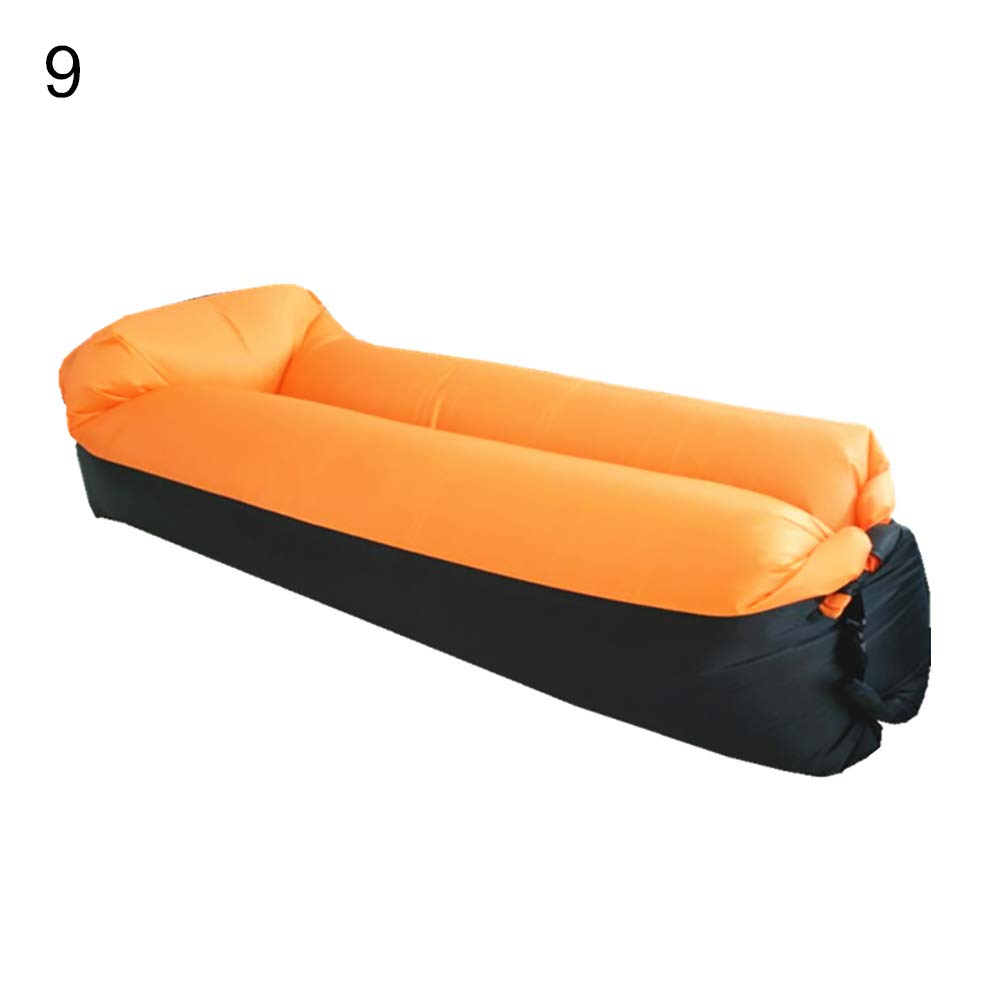 bDSof0u89yw Portable Outdoor Camping Picnic Beach Inflatable Air Sofa Lazy Bed Lounger Chair Comfortable Air Sofa Blow Up Lounge Sofa Carrying Bag Black + Orange