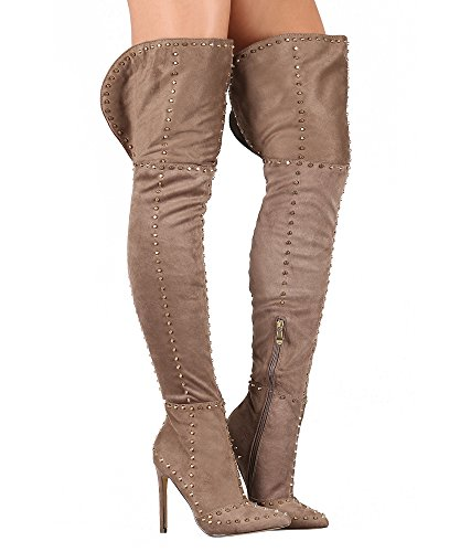 Paris Peach Sasha-1 Studded Suede Pointy Toe Stiletto Over The Knee Thigh High Boots Taupe (8.5)