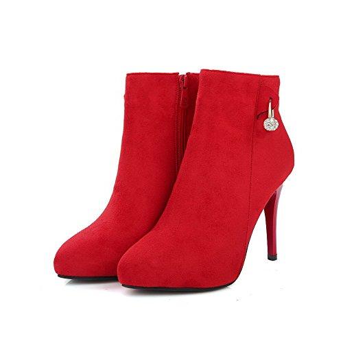 AgooLar Damen Eingelegt Mattglasbirne Hoher Absatz Reißverschluss Spitz Zehe Stiefel Rot