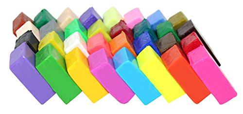 Liyuan 32 Colors DIY Mixed Colored Polymer Clay Sampler Soft Oven Baking Modelling Clay,Moulding Colorful Fimo Effect Clay Blocks Children Adults Creative Projects
