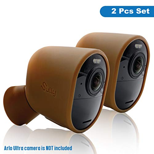 Silicone Case for Arlo Ultra 4K HD & Mount (Brown 2 pcs) - Ultra Series Camera Skins - Silicon Sleeves Cover for Arlo Ultra Security Camera - Full Protection Skins for Arlo Cam & Mount Base by Sully