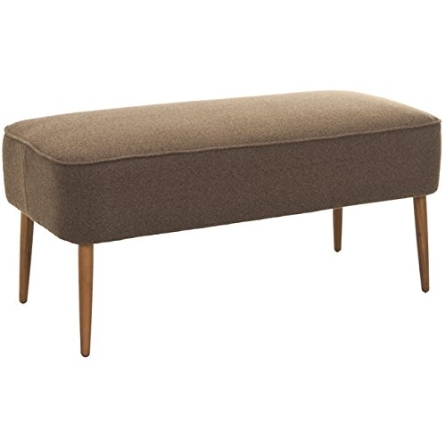 Bedroom Traditional Bench - Safavieh Mercer Collection Clara Mid-Century Modern Brown Retro Wool Bench