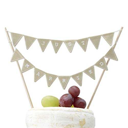 Ginger Ray Vintage Affair Rustic Just Married Wedding Cake or Cheese Bunting, Brown
