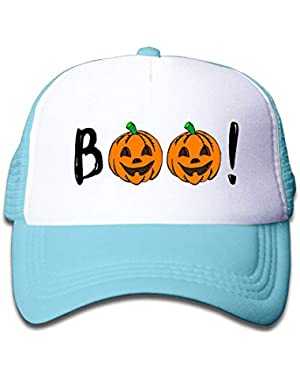 Halloween Pumpkin Boo4 On Boys and Girls Trucker Hat, Youth Toddler Mesh Hats Baseball Cap