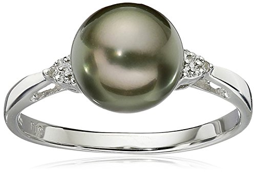 Sterling Silver with Diamond 8-9mm Round Black Tahitian Cultured Pearl Ring, Size 7 ()