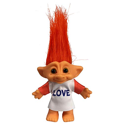 """Yintlilocn Lucky Troll Dolls,Vintage Troll Dolls Chromatic Adorable for Collections, School Project, Arts and Crafts, Party Favors - 7.5"""" Tall Orange Hair (Include The Length of Hair)"""