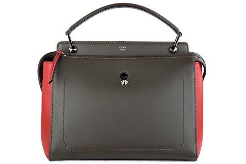Fendi women's leather handbag shopping bag purse dotcom grey