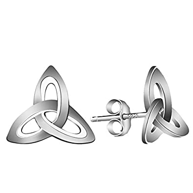 Elensan1 925 Sterling Silver Trinity Knot Triquetra Celtic Stud Earrings zzva7