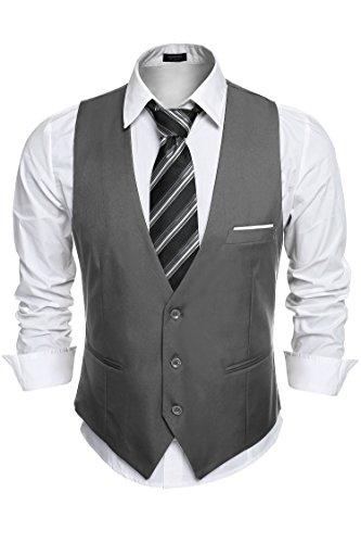(COOFANDY Mens Slim Fit Suit Vests Three Button Waistcoats Dark Gray)