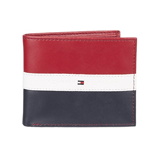 (Tommy Hilfiger Men's Leather Wallet - RFID Blocking Slim Thin Bifold with Removable Card Holder and Gift Box, Red/Navy)
