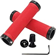 PLATT Bike Handlebar Grips Non-Slip-Rubber Comfortable MTB Bicycle Handle Grips for Mountain Bike/BMX with Alu