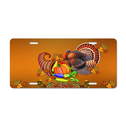 Blingreddiamond Thanksgiving Harvest Turkey Personalized Aluminum License Plate Cover Auto Truck Car Front Tag Sign Metal 12 x 6 Inch