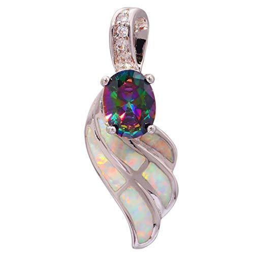 White Opal Rainbow Topaz Zircon Silver Women Jewelry Gems Pendant 1 1/8 OD5975 ()