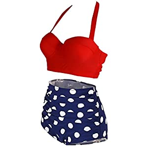 Amourri Womens Retro Vintage Polka Underwire High Waisted Swimsuit Bathing Suits Bikini,Red+blue,US 10-12=Tag Size 2XL
