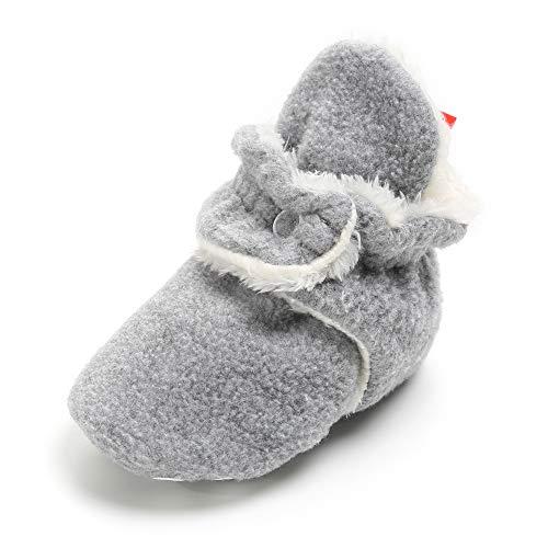 SOFMUO Unisex Baby Cozy Fleece Booties with Non Skid Bottom