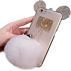 Jesiya Iphone 6 plus/6s plus Case Fur TPU,Super Cute 3D Handmade Diamond ears Handcraft With Metal Ring Metal Buckle Pendant Fur Plush Ball Clear Cover case for Iphone 6 plus/6s plus 5.5""