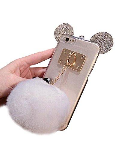 Jesiya Samsung Galaxy S6 Edge plus Case Fur TPU,Cute 3D Handmade Diamond ears Handcraft With Metal Ring Metal Buckle Pendant Fur Plush Ball Clear Cover case for Samsung Galaxy S6 Edge plus