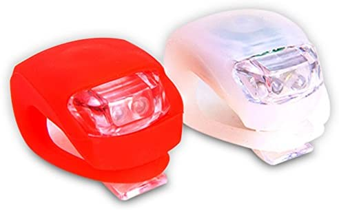 Shining Buddy Bicycle LED Lights Front Rear Safety Set. White Headlight and Red Taillight. High Beam-Flashing-Blinking. Water Resistant, Batteries Included