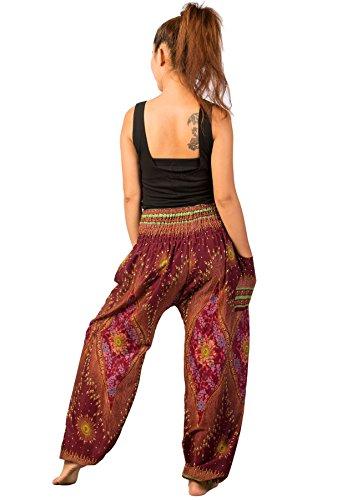 3 Pantaloni Floral Waist Donna Maroon Lofbaz Smocked Harem Boho Fwnq0xFvXf