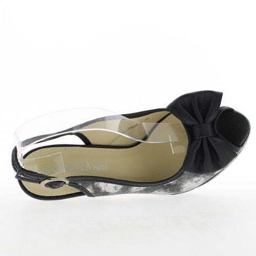 Nero sandali fioritura 13,5 cm tacco e 3cm vassoio