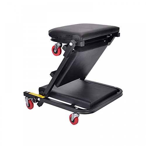 40''Foldable Z Creeper Seat Black Maintenance Shop Car Garage Padded Bed by FDW (Image #2)'