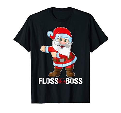 Floss Like a Boss Santa Flossing Christmas Gift T Shirt