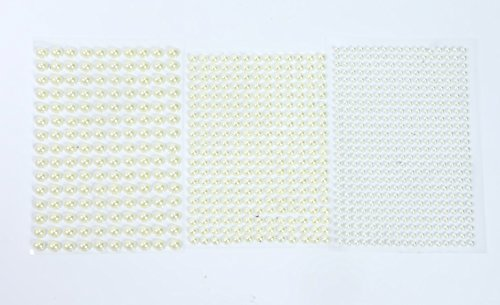 ALL in ONE Mixed Size Pearl Sticker Sheets Self-adhesive Flat Back Pearl for DIY Craft Scrapbooking Embellishments (White 4+6+8mm) ()