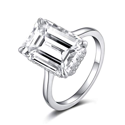 Erllo 925 Sterling Silver Emerald Cut 6 Carat CZ Cubic Zirconia Women Solitaire Simulated Diamond White Gold Plated Silver Engagement Wedding Rings (8) ()