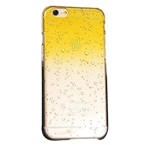 Caja del telefono - TOOGOO(R) 1X Conjunto de accesorios para iPhone 6 Plus/6S Plus 3D cubierta protectora transparente ultrafina de plastico duro de patron de gota de lluvia amarillo