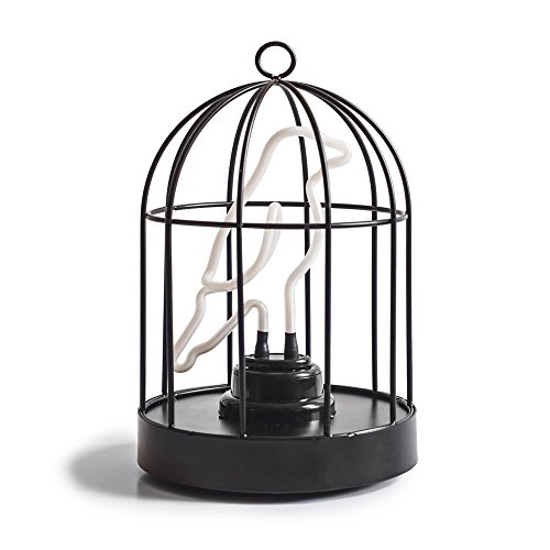 """Price comparison product image Suck UK Birdcage Neon Bird in a Cage Lamp-Both USB and Battery Powered 6"""" Light,  Multicolor"""