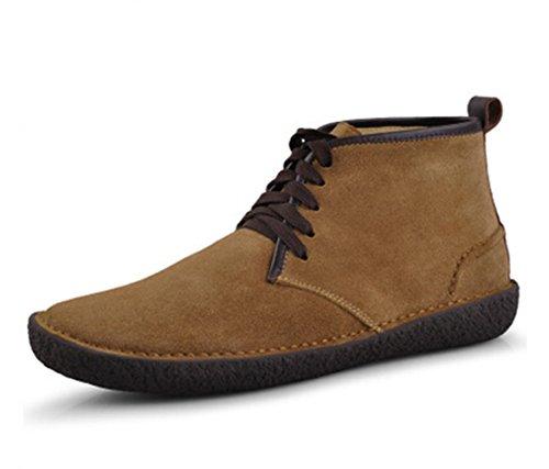 Happyshop (tm) Hiver Daim Cuir Hommes Laine Plissée Classique Chukkas Bottes Chaussures De Marche Causale Marron Clair