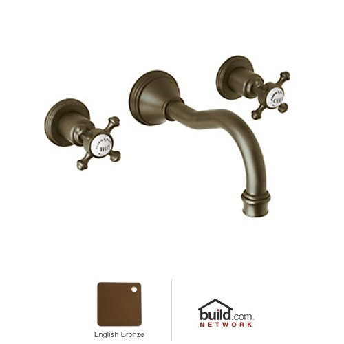 Era 3 Hole Column Spout (Rohl U.3794X-EB-2 Perrin and Rowe Georgian Era Wall Mounted Three Hole Widespread Column Spout Lavatory Faucet Set in English Bronze with Cross Handles)