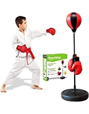 Punching Bag with Stand for Kids, Adjustable Height Freestanding Punching Ball Boxing Speed Bag, Ideal for MMA Reflex Speed Training, Fitness, Punching and Muscle Building, Exercise & Fun Activity for Kids
