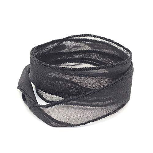 - Great Yoga Fashion Women Bracelet with Black Sari Silk Ribbon Wrap 1Pc