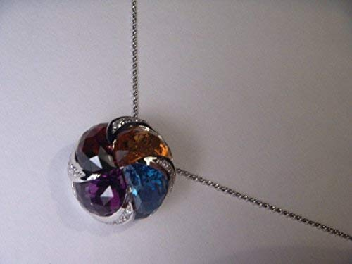 18K White Gold Gemstone Amethyst Topaz Garnet Citrine Diamond Pendant Enhancer
