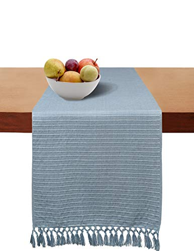 Cotton Clinic Set of 2 Table Runners Farmhouse 72 Inch Textured Woven, 14x72 Cotton Wedding Table Runners Fringes, Rustic Bridal Shower Decor Dining Table Runners Light ()