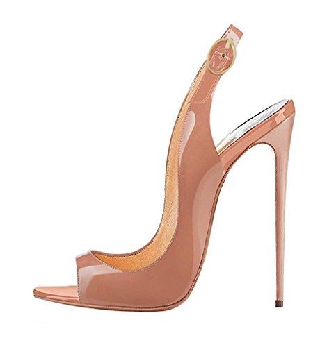 Schuhe Peep 120mm High Zehensling Toe Damen Beige Partykleid Heels EDEFS Sandale Sandalen Offene O4xS1qPwST