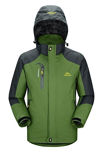 Rdruko Men's Jacket with Hood Waterproof Windproof Casual Outdoor Softshell Raincoat Sportswear