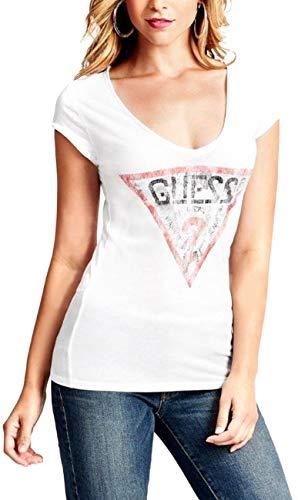 スケルトン日記ペパーミントゲス GUESS レディース Tシャツ 半袖 トライアングルロゴ トップス ファッション