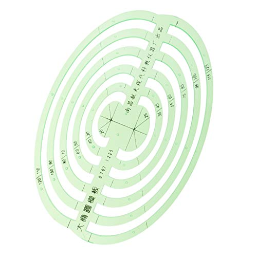 SM SunniMix 1 Pc Plastic Green Measuring Templates Geometric Rulers for Office and School, Building formwork, Drawings templates - Large Oval by SM SunniMix (Image #2)