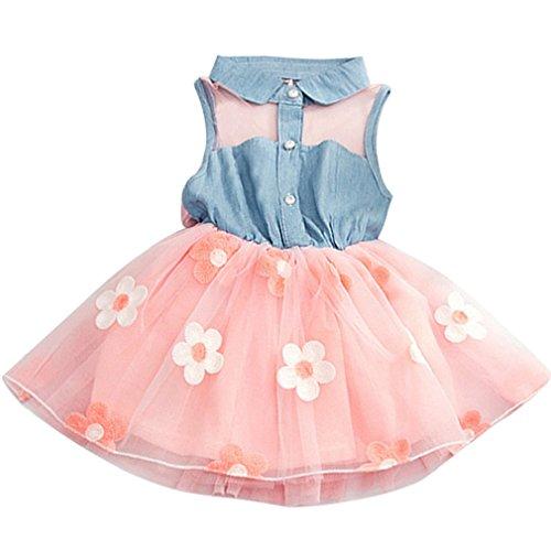 FEITONG Princess Cute Girls Denim Kids Sleeveless Tulle Tutu Dresses Mini Dresses (A-Pink, 5T(4-5T))
