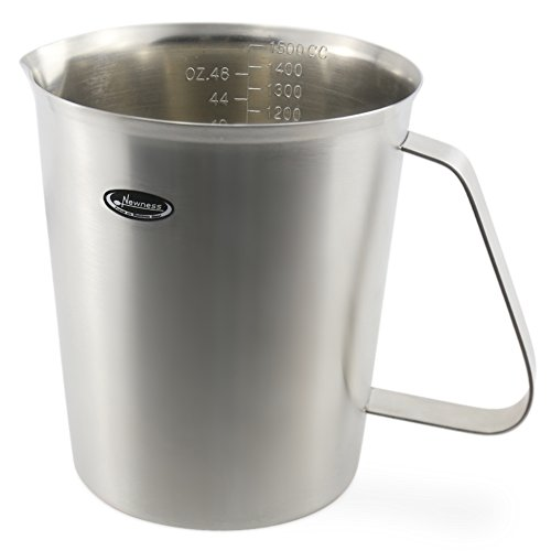 Measuring Cup, Newness Stainless Steel Measuring Cup with Marking with Handle, 48 Ounces (1.5 Liter, 6 Cup)