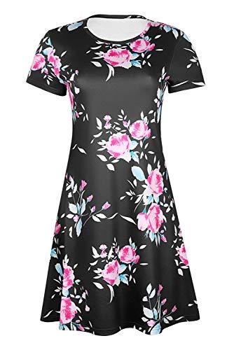 floreale stampa corta Party nero tasca Vintage Aibayleef Boheme manica grande con partito tunica Chic Flower Dress Mini casual formato Beach Summer Dress xtw4qqnBIv