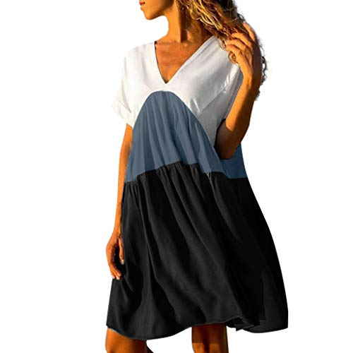Aunimeifly Ladies Summer Dress Stitching Gradient V-Neck Above Knee Loose Dress Black